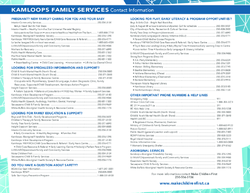 Please click on the picture so see the Kamloops Family Services Contact Information & Free or Low Cost Family Activities